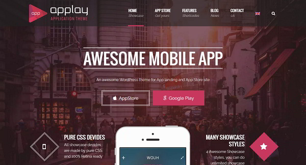Applay app showcase wordpress theme