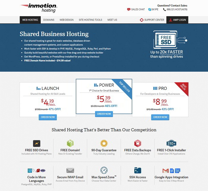 Shared Business Hosting with Free SSDs Domain InmotionHosting