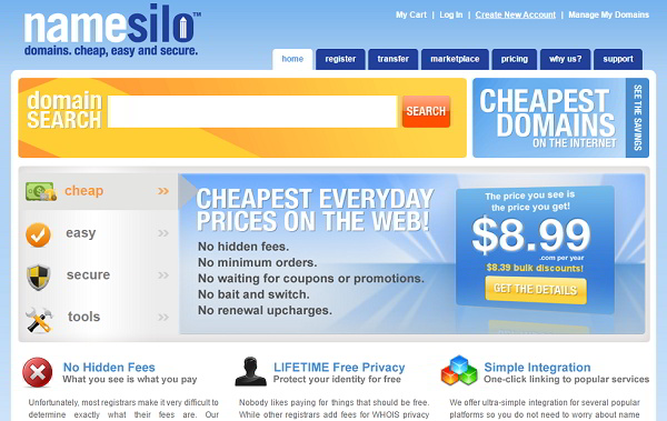 Cheap Domain Names NameSilo