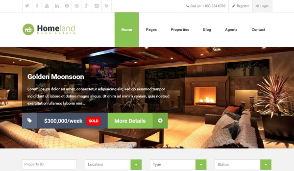 Homeland Flat Real Estate WordPress Theme