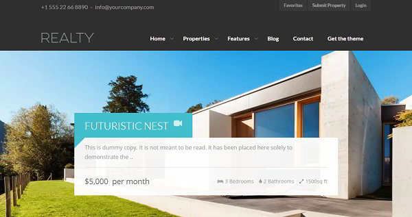 Realty Real Estate WordPress theme