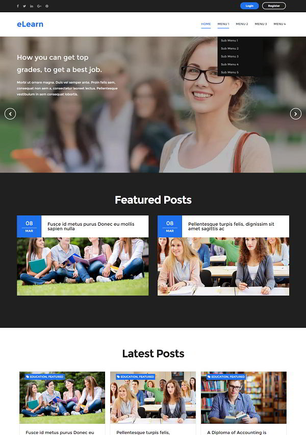 eLearn Blogger Template for education system
