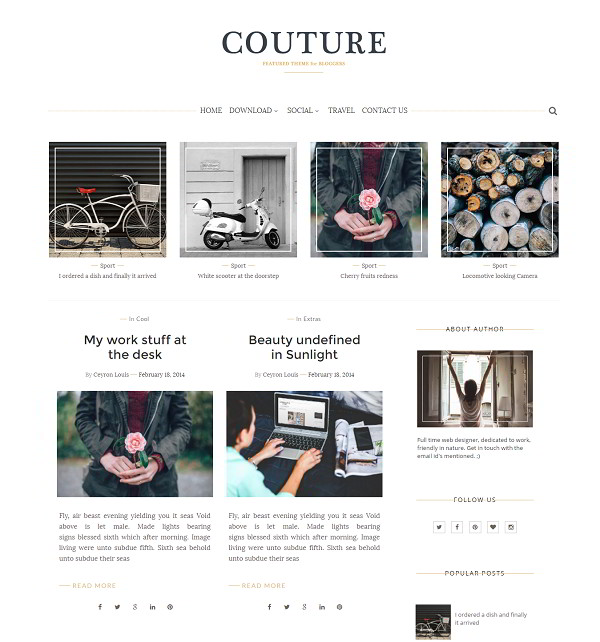 Couture grid view blogger template