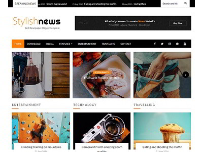 Stylish News Blogger Template small